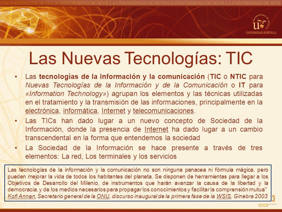 Las Nuevas Tecnologías: TIC Las tecnologías de la información y la comunicación (TIC o NTIC para Nuevas Tecnologías de la Información y de la Comunica