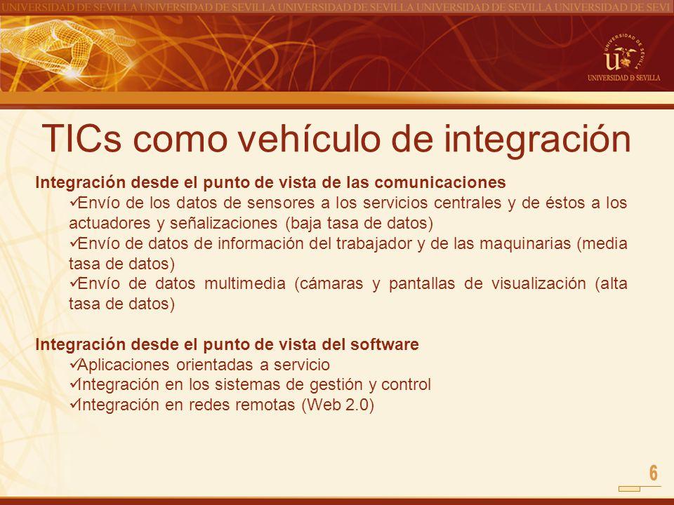 TICs como vehículo de integración Integración desde el punto de vista de las comunicaciones Envío de los datos de sensores a los servicios centrales y