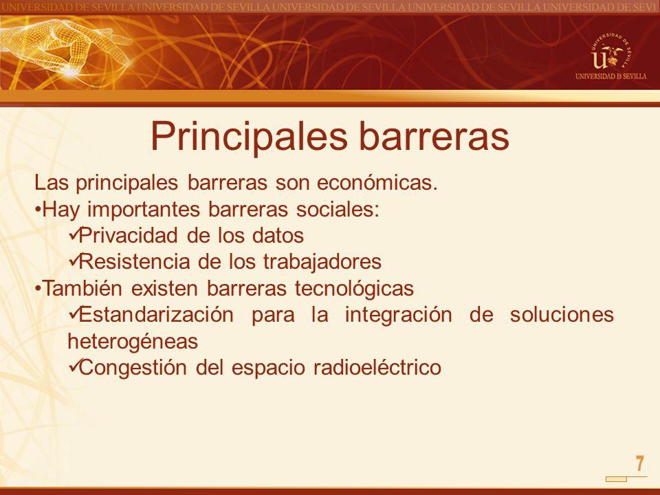 Principales barreras Las principales barreras son económicas. Hay importantes barreras sociales: Privacidad de los datos Resistencia de los trabajador