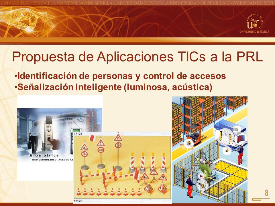 Propuesta de Aplicaciones TICs a la PRL Identificación de personas y control de accesos Señalización inteligente (luminosa, acústica)