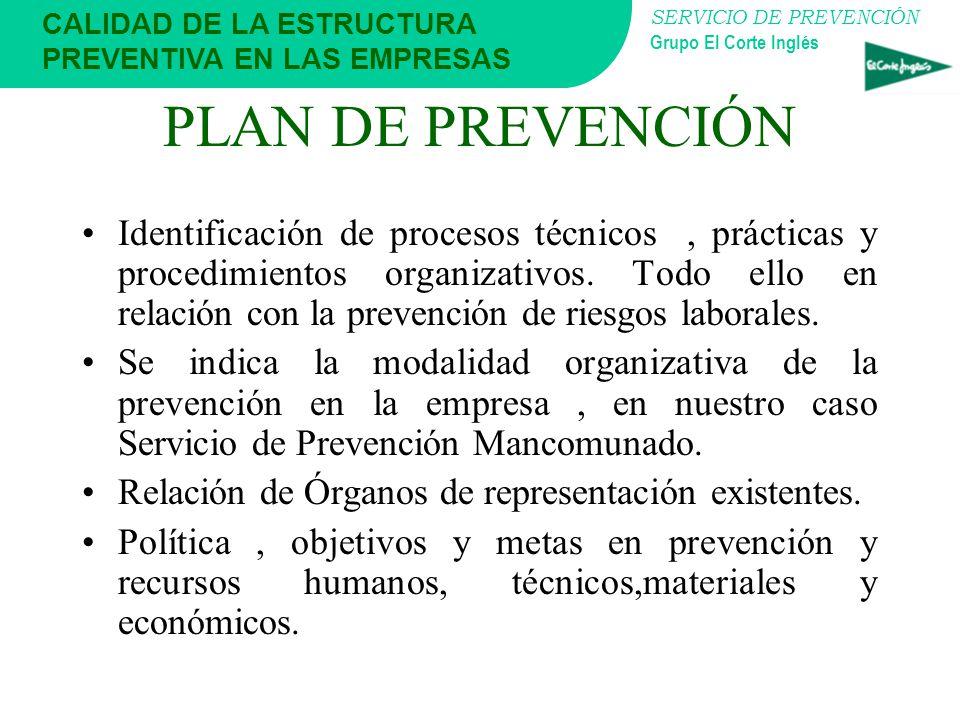SERVICIO DE PREVENCIÓN Grupo El Corte Inglés CALIDAD DE LA ESTRUCTURA PREVENTIVA EN LAS EMPRESAS PLAN DE PREVENCIÓN El Plan de Prevención es aprobado