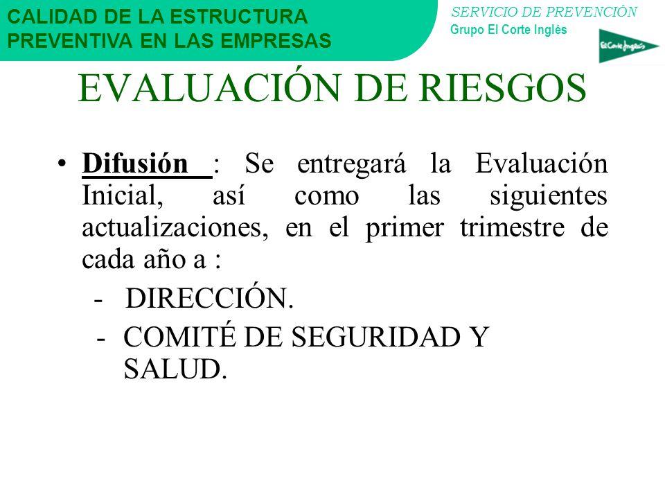 SERVICIO DE PREVENCIÓN Grupo El Corte Inglés EVALUACIÓN DE RIESGOS ¿Quién la Realiza?: El Servicio de Prevención, con la colaboración de los Delegados
