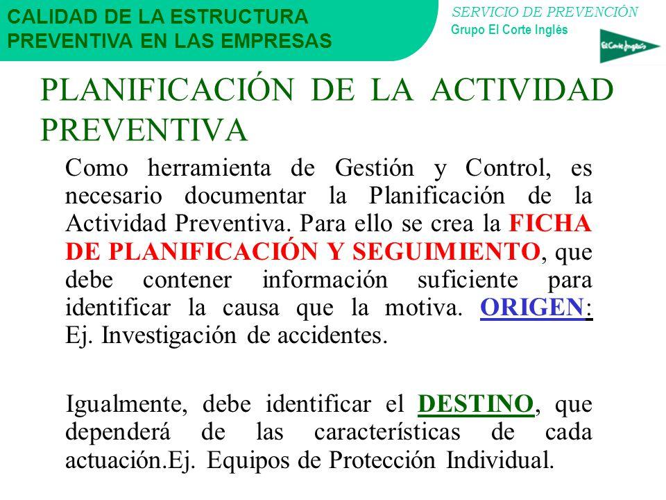 SERVICIO DE PREVENCIÓN Grupo El Corte Inglés PLANIFICACIÓN DE LA ACTIVIDAD PREVENTIVA Es el conjunto ordenado de actuaciones que la Empresa decide y s