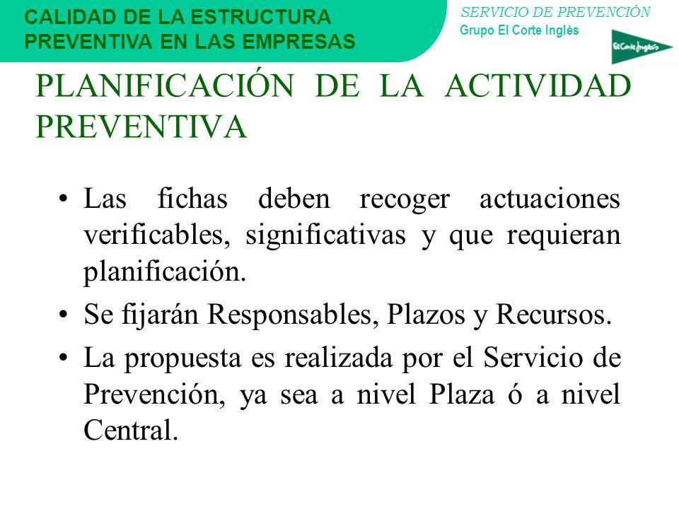 SERVICIO DE PREVENCIÓN Grupo El Corte Inglés PLANIFICACIÓN DE LA ACTIVIDAD PREVENTIVA Como herramienta de Gestión y Control, es necesario documentar l
