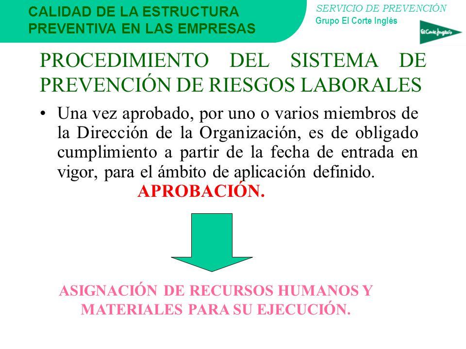 SERVICIO DE PREVENCIÓN Grupo El Corte Inglés CALIDAD DE LA ESTRUCTURA PREVENTIVA EN LAS EMPRESAS PROCEDIMIENTO DEL SISTEMA DE PREVENCIÓN DE RIESGOS LA