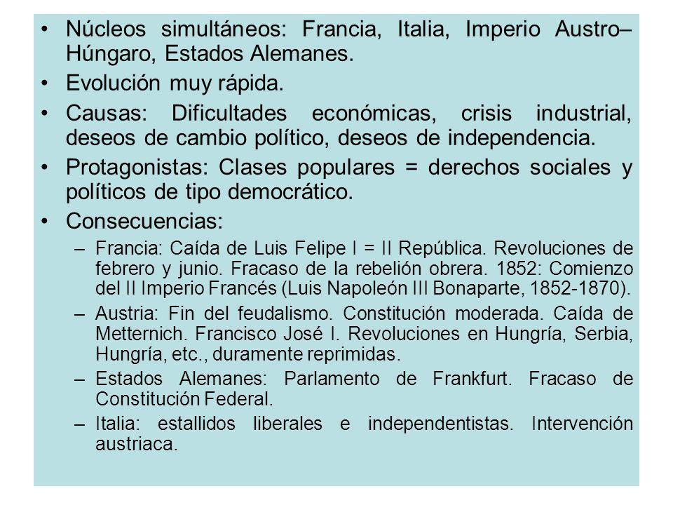 Núcleos simultáneos: Francia, Italia, Imperio Austro– Húngaro, Estados Alemanes. Evolución muy rápida. Causas: Dificultades económicas, crisis industr