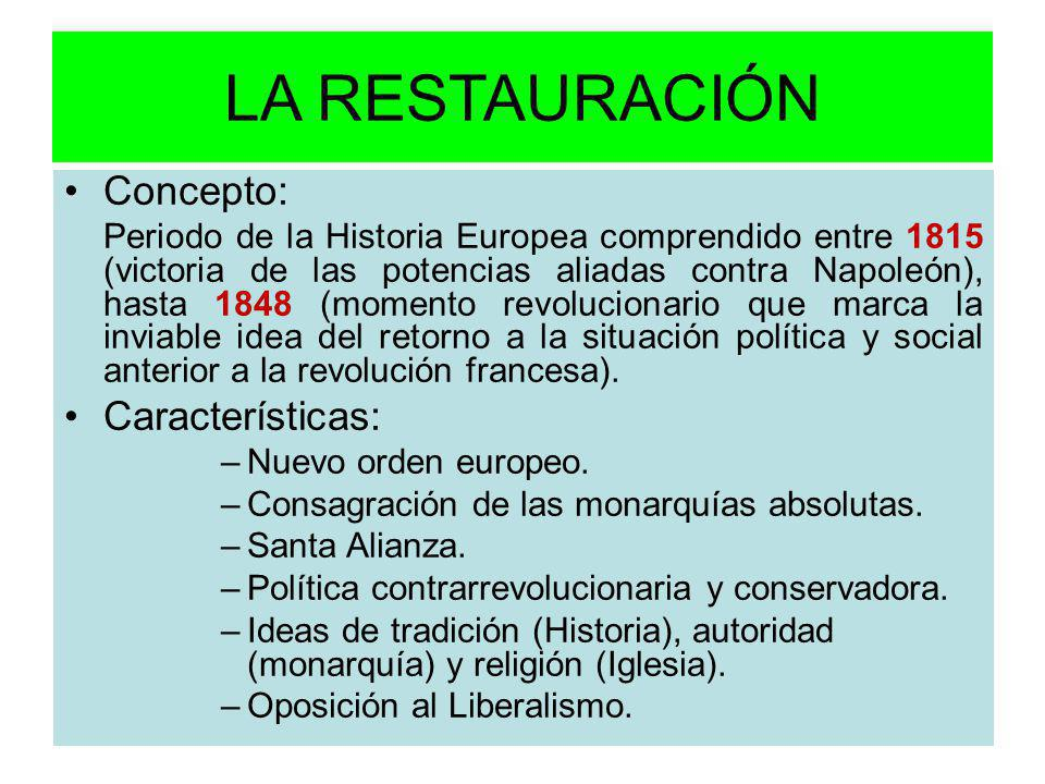 LA RESTAURACIÓN Concepto: Periodo de la Historia Europea comprendido entre 1815 (victoria de las potencias aliadas contra Napoleón), hasta 1848 (momen