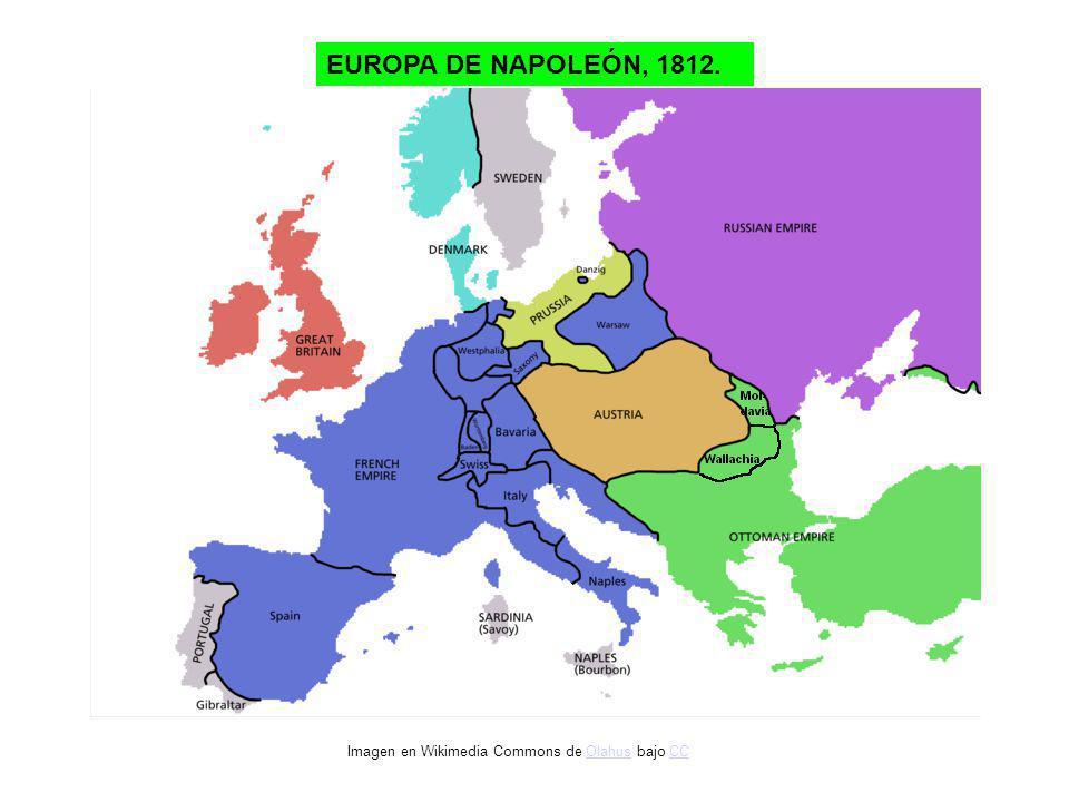 EUROPA DE NAPOLEÓN, 1812. Imagen en Wikimedia Commons de Olahus bajo CCOlahusCC