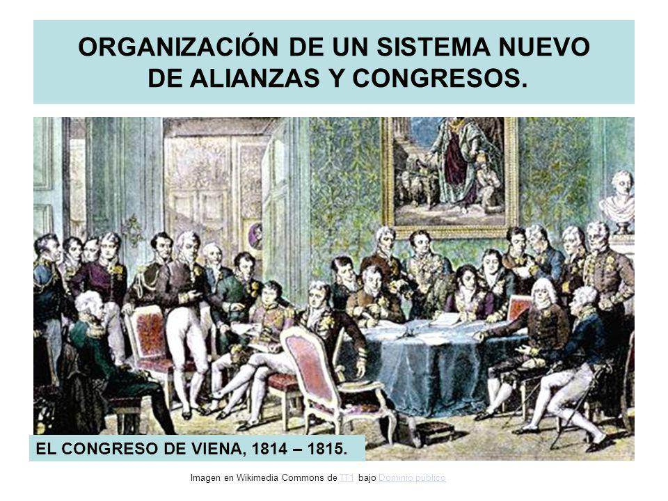 ORGANIZACIÓN DE UN SISTEMA NUEVO DE ALIANZAS Y CONGRESOS. EL CONGRESO DE VIENA, 1814 – 1815. Imagen en Wikimedia Commons de TT1 bajo Dominio públicoTT