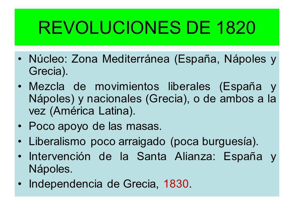 REVOLUCIONES DE 1820 Núcleo: Zona Mediterránea (España, Nápoles y Grecia). Mezcla de movimientos liberales (España y Nápoles) y nacionales (Grecia), o