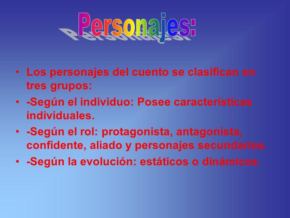 Los personajes del cuento se clasifican en tres grupos: -Según el individuo: Posee características individuales. -Según el rol: protagonista, antagoni