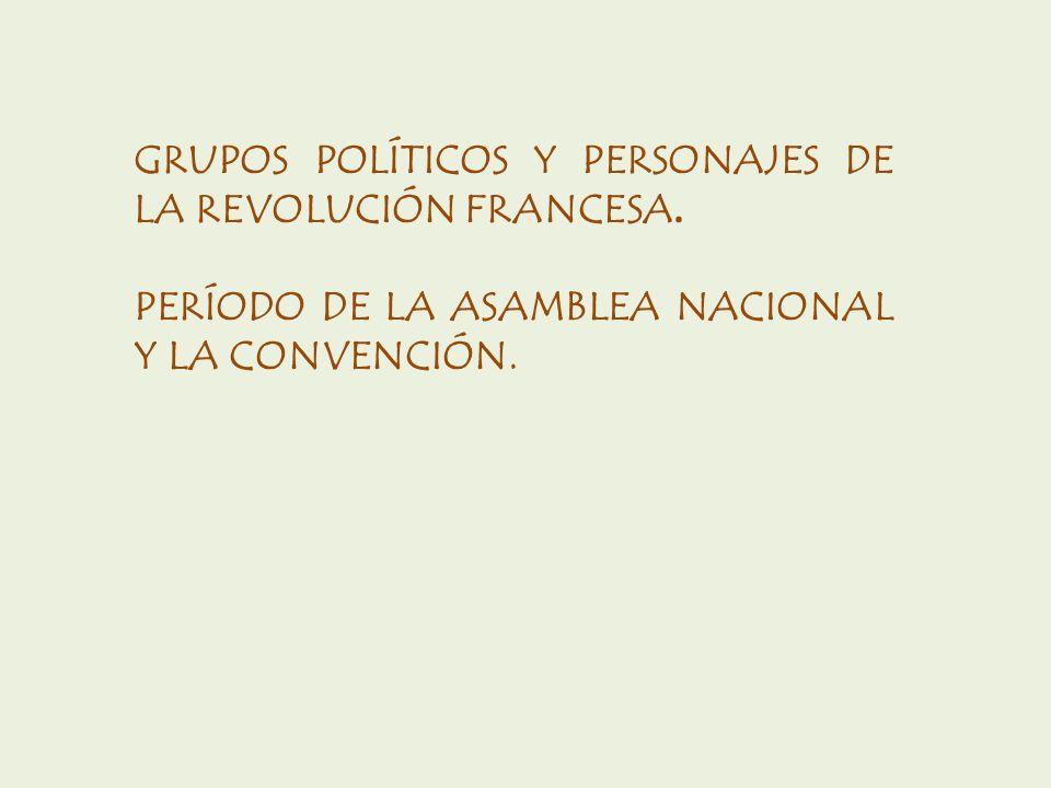 GRUPOS POLÍTICOS Y PERSONAJES DE LA REVOLUCIÓN FRANCESA.