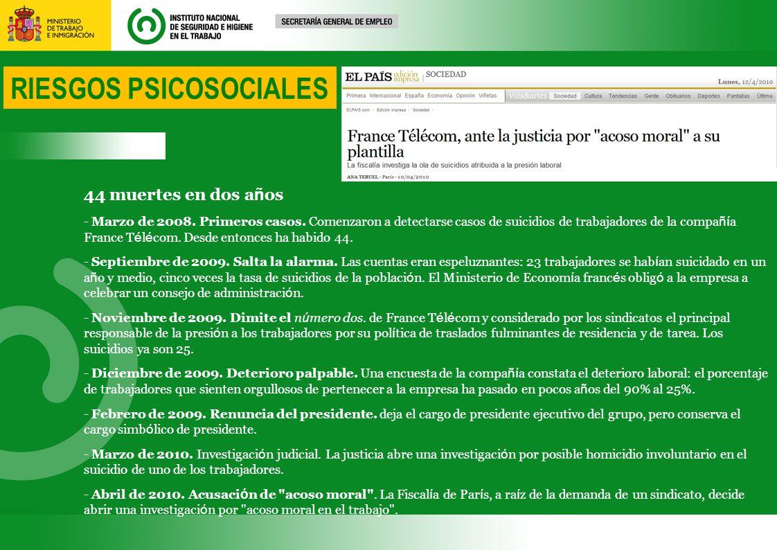 RIESGOS PSICOSOCIALES 44 muertes en dos a ñ os - Marzo de 2008.