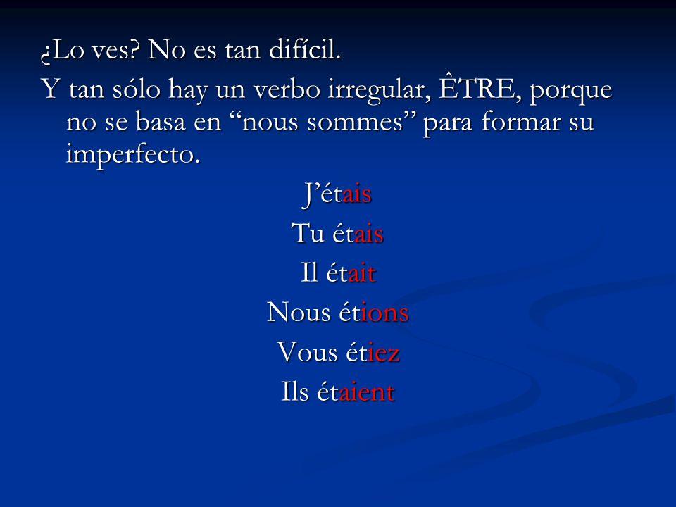 ¿Lo ves? No es tan difícil. Y tan sólo hay un verbo irregular, ÊTRE, porque no se basa en nous sommes para formar su imperfecto. Jétais Tu étais Il ét