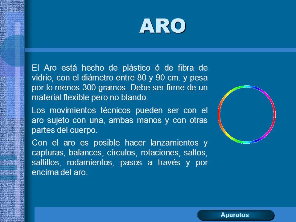 ARO El Aro está hecho de plástico ó de fibra de vidrio, con el diámetro entre 80 y 90 cm. y pesa por lo menos 300 gramos. Debe ser firme de un materia