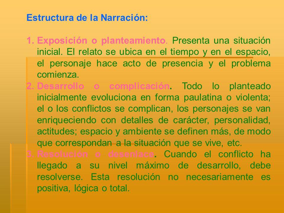 Estructura de la Narración: 1.Exposición o planteamiento. Presenta una situación inicial. El relato se ubica en el tiempo y en el espacio, el personaj