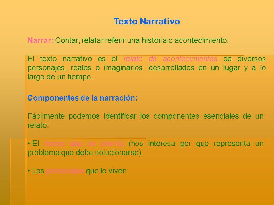Texto Narrativo Narrar: Contar, relatar referir una historia o acontecimiento. El texto narrativo es el relato de acontecimientos de diversos personaj