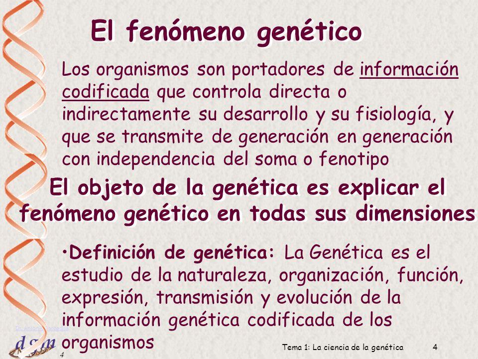 3 Dr. Antonio Barbadilla Tema 1: La ciencia de la genética3 Genoma