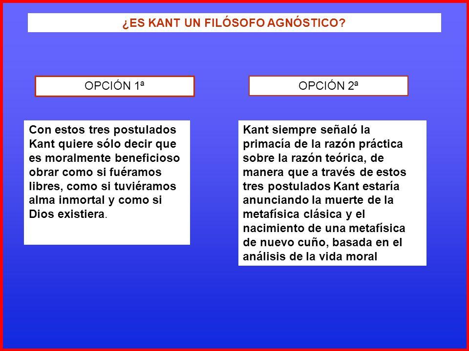 ¿ES KANT UN FILÓSOFO AGNÓSTICO? OPCIÓN 1ª OPCIÓN 2ª Con estos tres postulados Kant quiere sólo decir que es moralmente beneficioso obrar como si fuéra