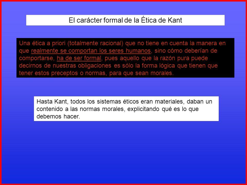 El carácter formal de la Ética de Kant Una ética a priori (totalmente racional) que no tiene en cuenta la manera en que realmente se comportan los ser