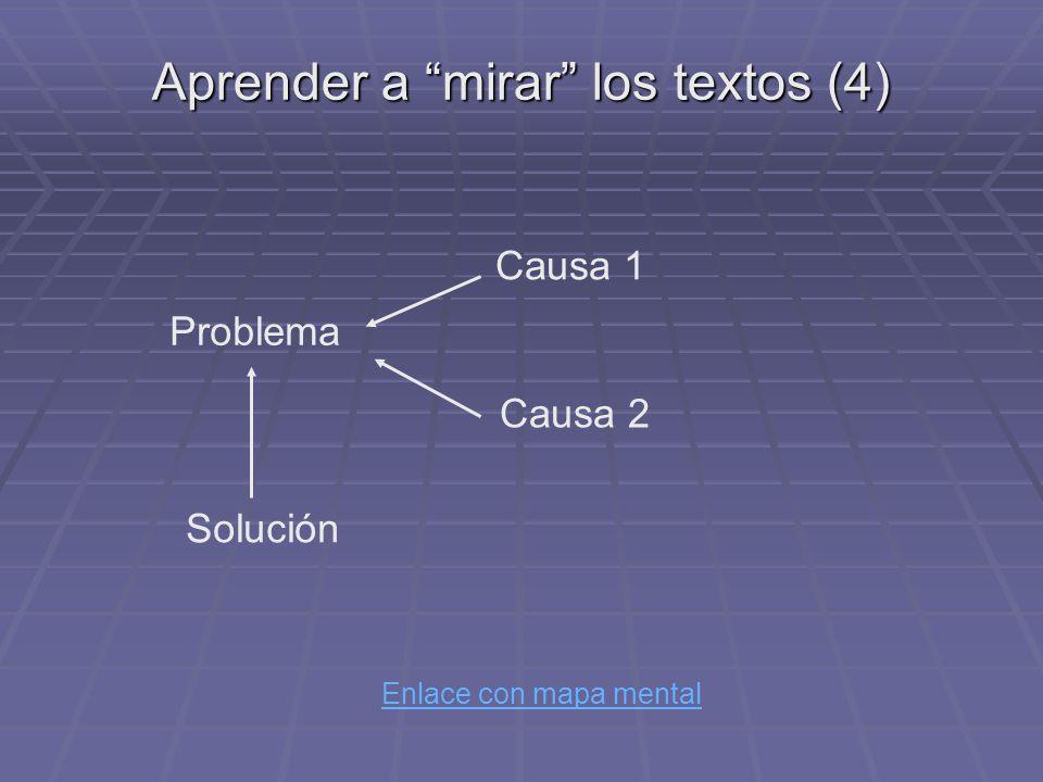 Aprender a mirar los textos (4) Enlace con mapa mental Problema Causa 1 Causa 2 Solución