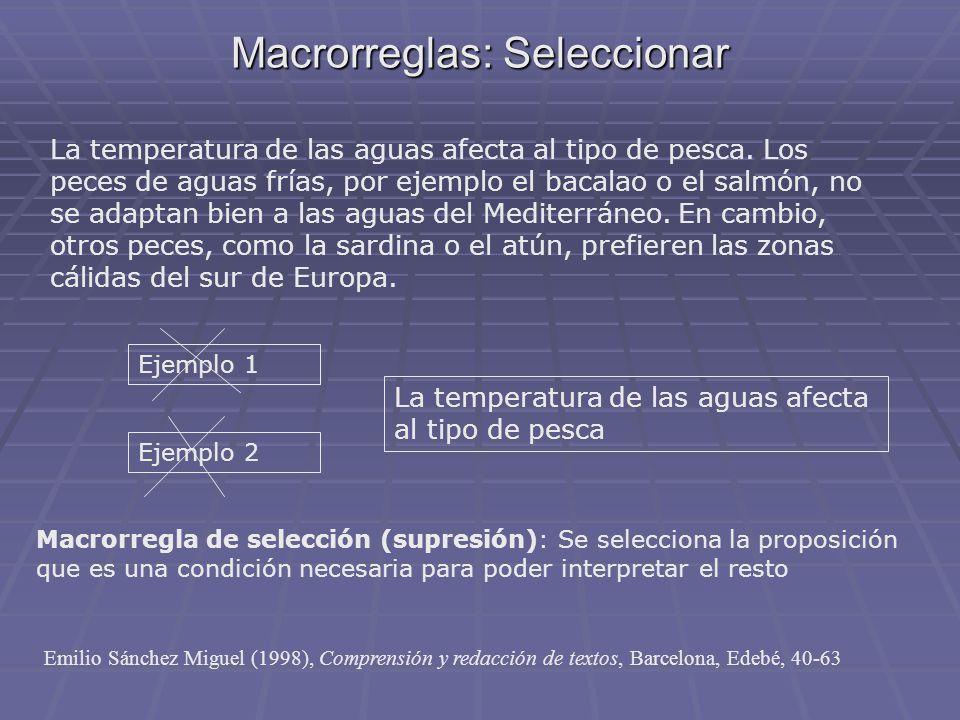 Macrorreglas: Seleccionar La temperatura de las aguas afecta al tipo de pesca. Los peces de aguas frías, por ejemplo el bacalao o el salmón, no se ada