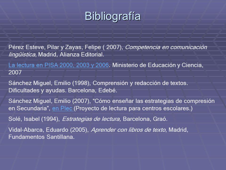 Bibliografía Pérez Esteve, Pilar y Zayas, Felipe ( 2007), Competencia en comunicación lingüística, Madrid, Alianza Editorial. La lectura en PISA 2000,