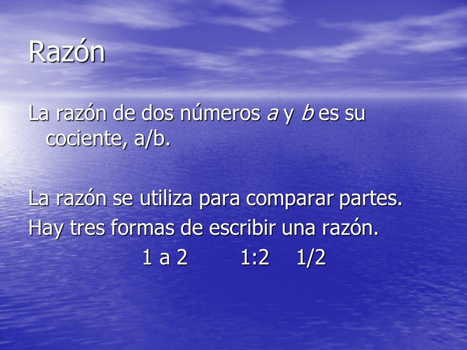 Razón La razón de dos números a y b es su cociente, a/b. La razón se utiliza para comparar partes. Hay tres formas de escribir una razón. 1 a 2 1:2 1/