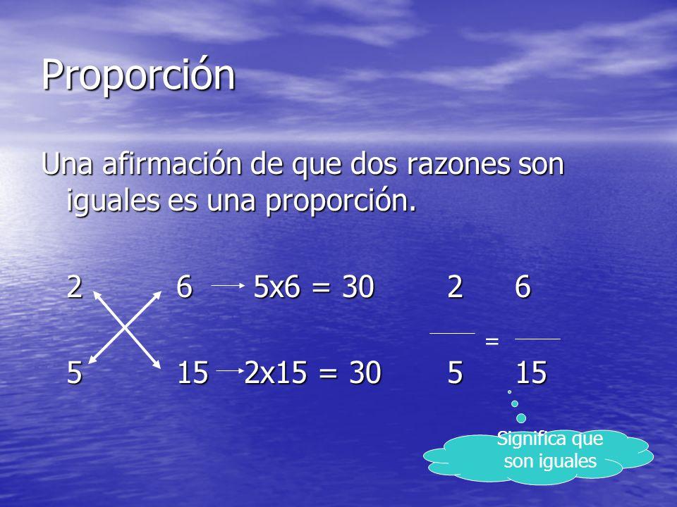 Proporción Una afirmación de que dos razones son iguales es una proporción. 26 5x6 = 3026 26 5x6 = 3026 5152x15 = 30515 = Significa que son iguales