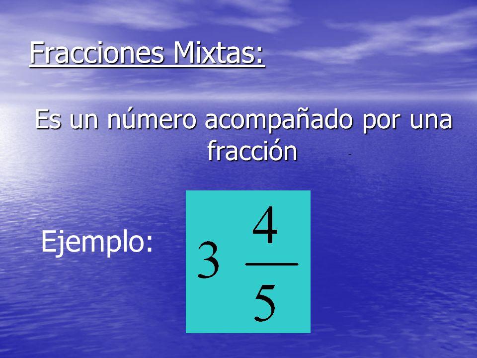 Fracciones Mixtas: Es un número acompañado por una fracción Ejemplo:
