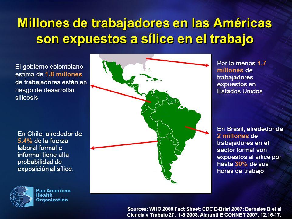 Pan American Health Organization Millones de trabajadores en las Américas son expuestos a sílice en el trabajo Sources: WHO 2000 Fact Sheet; CDC E-Bri