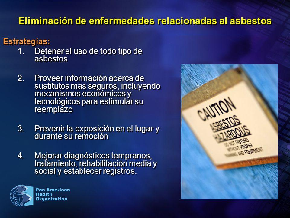 Pan American Health Organization Eliminación de enfermedades relacionadas al asbestos Estrategias: 1.Detener el uso de todo tipo de asbestos 2.Proveer