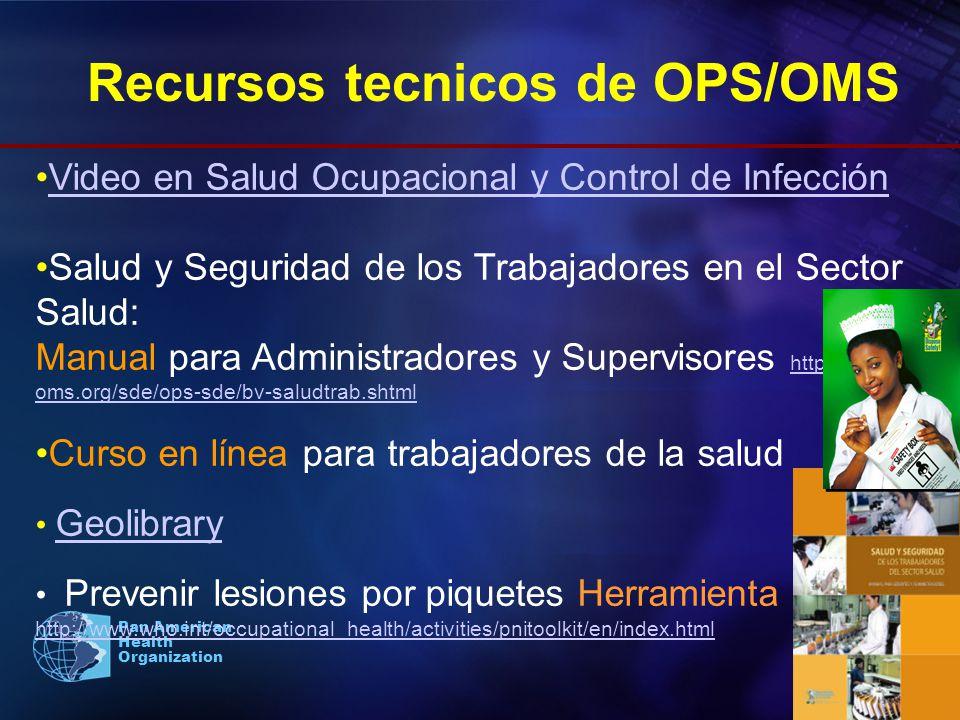 Pan American Health Organization Video en Salud Ocupacional y Control de Infección Salud y Seguridad de los Trabajadores en el Sector Salud: Manual pa