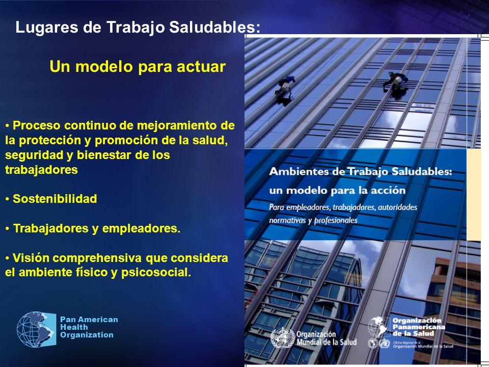 Pan American Health Organization Lugares de Trabajo Saludables: Un modelo para actuar Proceso continuo de mejoramiento de la protección y promoción de