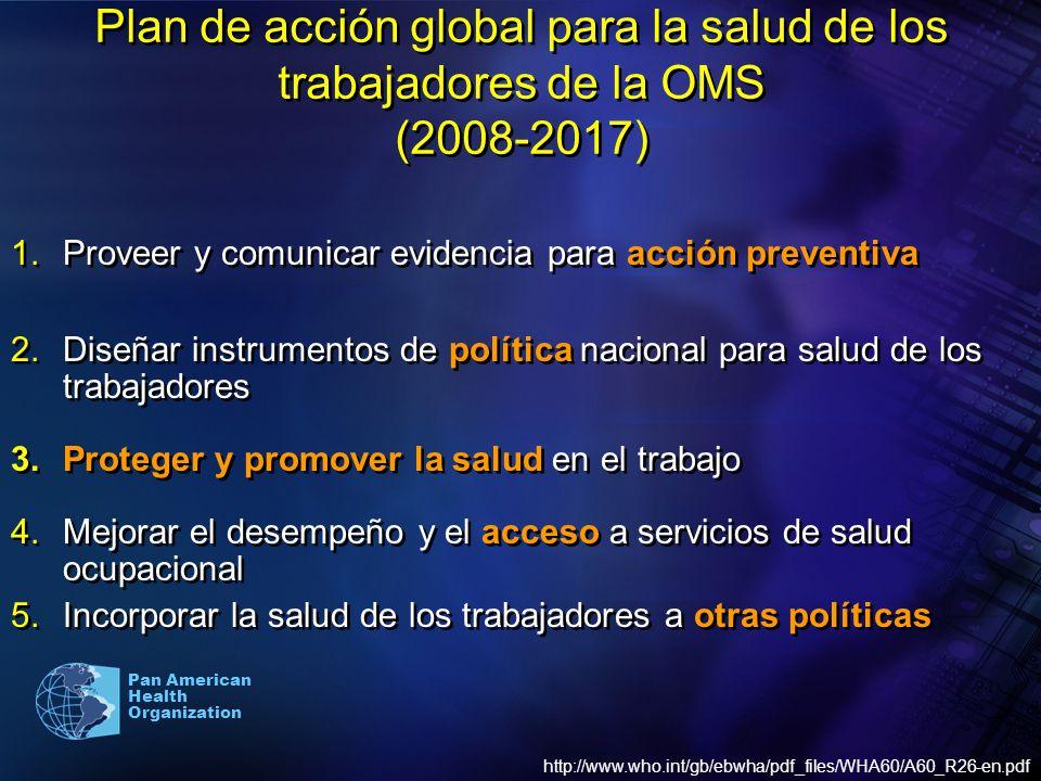 Pan American Health Organization Plan de acción global para la salud de los trabajadores de la OMS (2008-2017) 1.Proveer y comunicar evidencia para ac