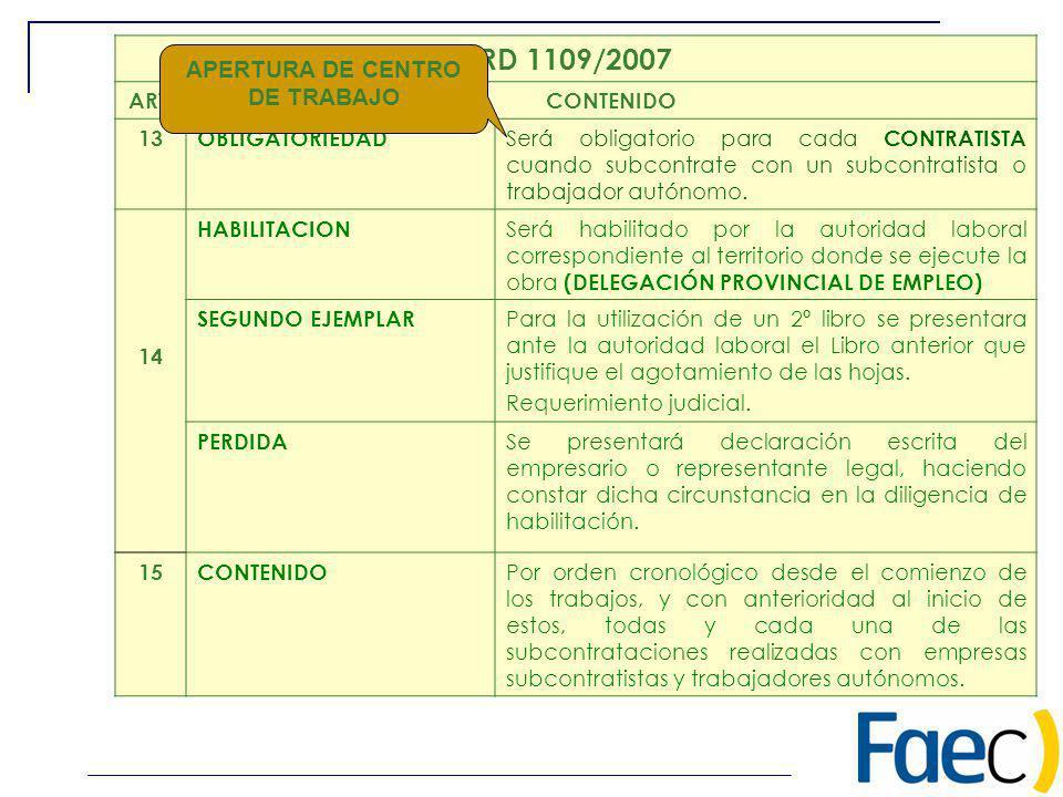 RD 1109/2007 ART.CONTENIDO 13OBLIGATORIEDAD Será obligatorio para cada CONTRATISTA cuando subcontrate con un subcontratista o trabajador autónomo. 14