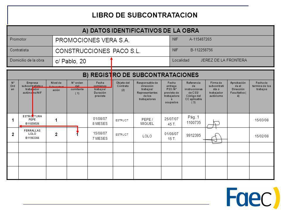 B) REGISTRO DE SUBCONTRATACIONES Nº Ord en Empresa subcontratista o trabajador autónomo/NIF Nivel de Subcontrat ación Nº orden del comitente ( 1) Fech