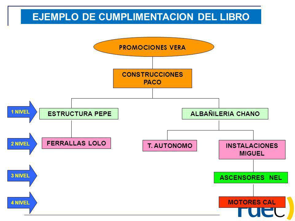 PROMOCIONES VERA CONSTRUCCIONES PACO ESTRUCTURA PEPE FERRALLAS LOLO EJEMPLO DE CUMPLIMENTACION DEL LIBRO ALBAÑILERIA CHANO INSTALACIONES MIGUEL T. AUT
