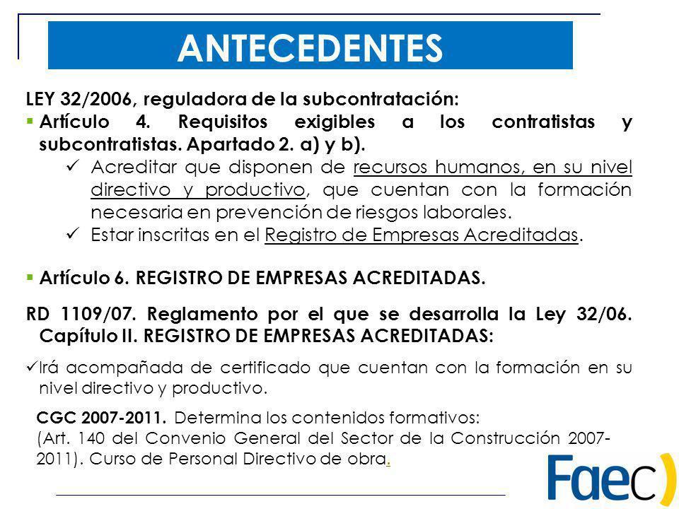 ANTECEDENTES CGC 2007-2011. Determina los contenidos formativos: (Art. 140 del Convenio General del Sector de la Construcción 2007- 2011). Curso de Pe