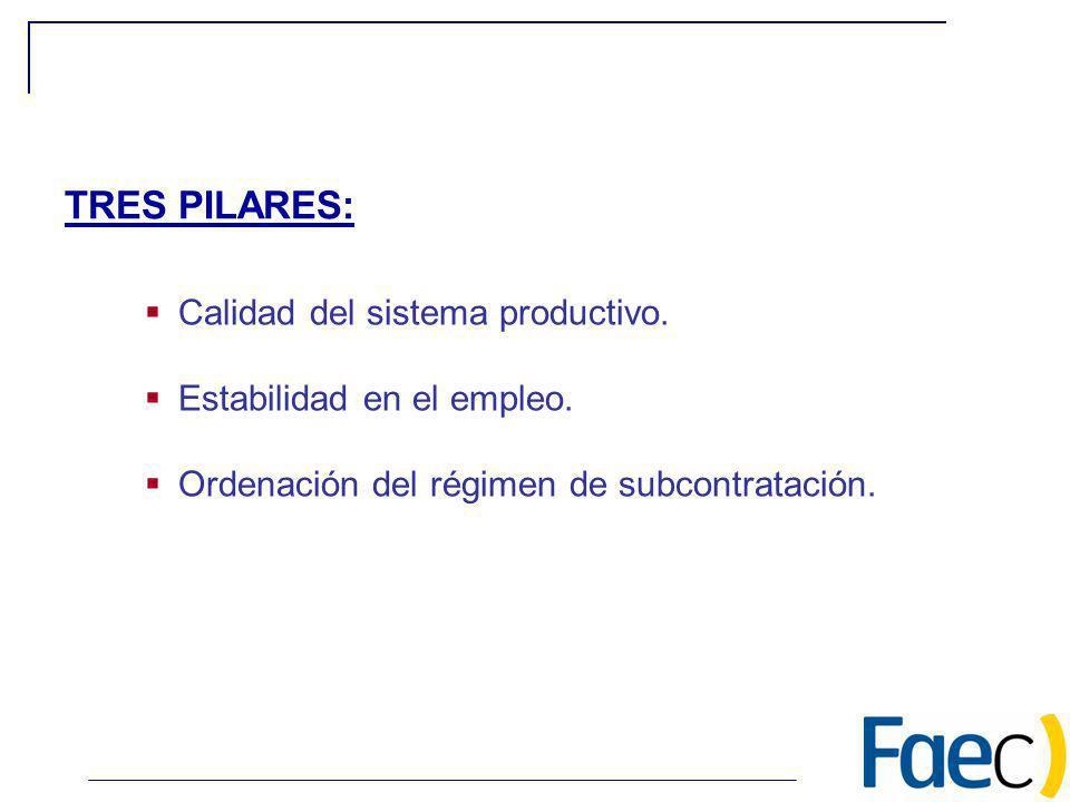 Calidad del sistema productivo. Estabilidad en el empleo. Ordenación del régimen de subcontratación. TRES PILARES: