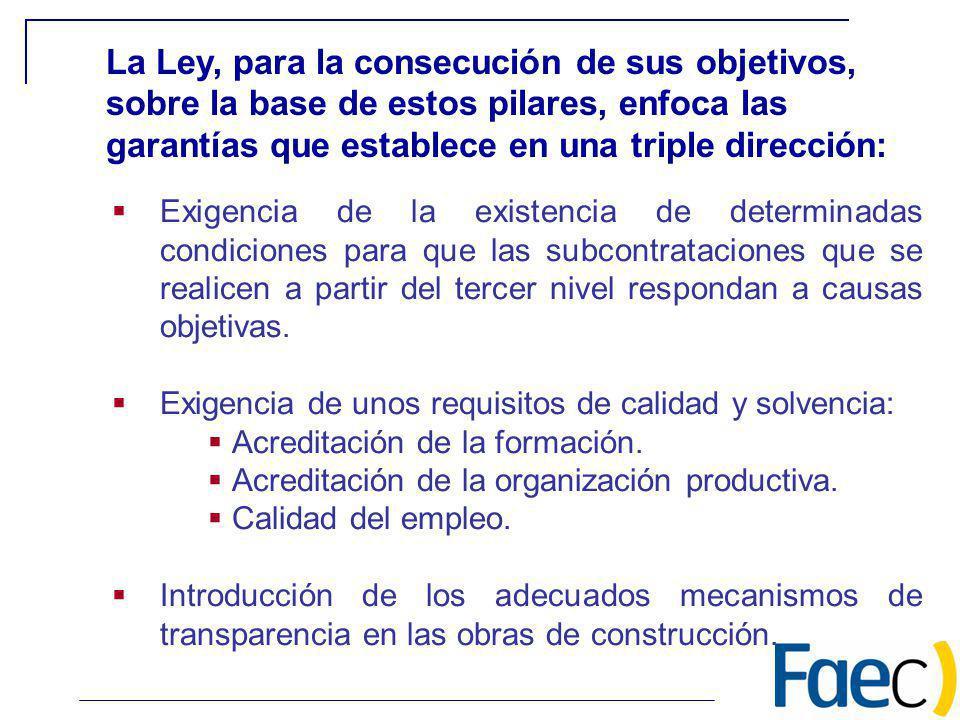 Exigencia de la existencia de determinadas condiciones para que las subcontrataciones que se realicen a partir del tercer nivel respondan a causas obj