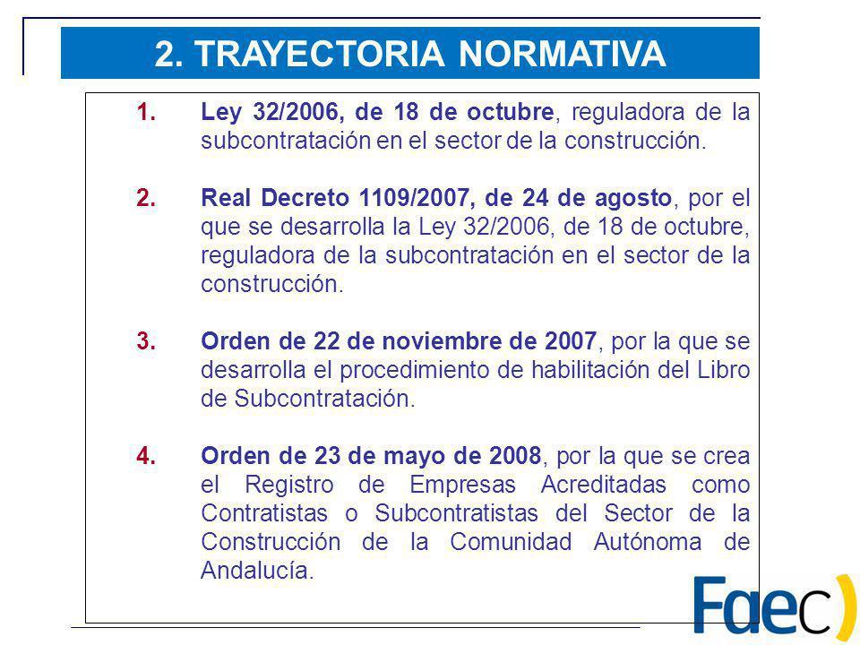 2. TRAYECTORIA NORMATIVA 1.Ley 32/2006, de 18 de octubre, reguladora de la subcontratación en el sector de la construcción. 2.Real Decreto 1109/2007,