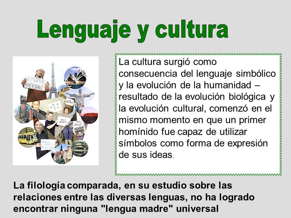 La cultura surgió como consecuencia del lenguaje simbólico y la evolución de la humanidad – resultado de la evolución biológica y la evolución cultura