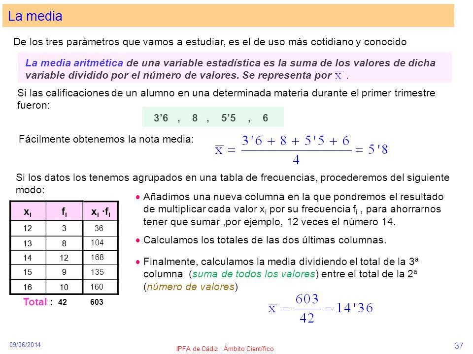 09/06/2014 IPFA de Cádiz Ámbito Científico 37 La media De los tres parámetros que vamos a estudiar, es el de uso más cotidiano y conocido La media ari