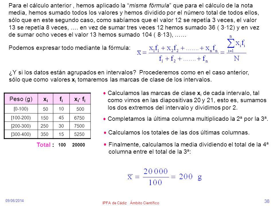 09/06/2014 IPFA de Cádiz Ámbito Científico 38 Para el cálculo anterior, hemos aplicado la misma fórmula que para el cálculo de la nota media, hemos su