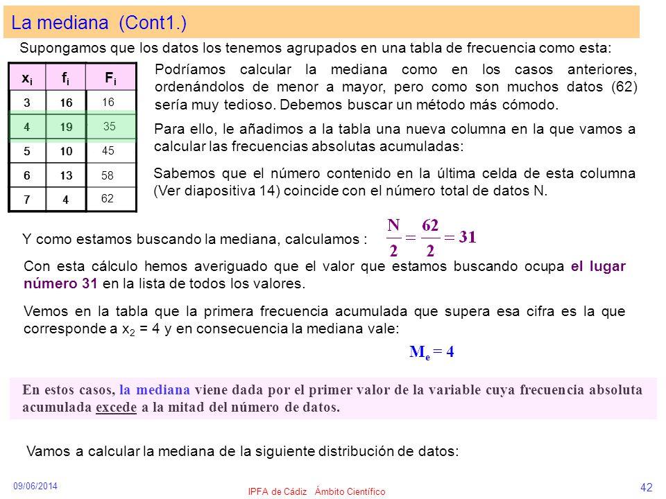 09/06/2014 IPFA de Cádiz Ámbito Científico 42 La mediana (Cont1.) Supongamos que los datos los tenemos agrupados en una tabla de frecuencia como esta: