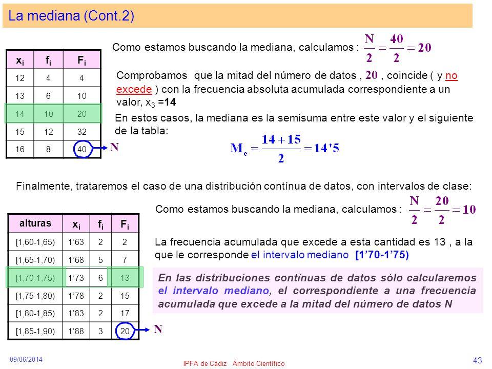 09/06/2014 IPFA de Cádiz Ámbito Científico 43 La mediana (Cont.2) xixi fifi FiFi 1244 13610 141020 151232 16840 Como estamos buscando la mediana, calc