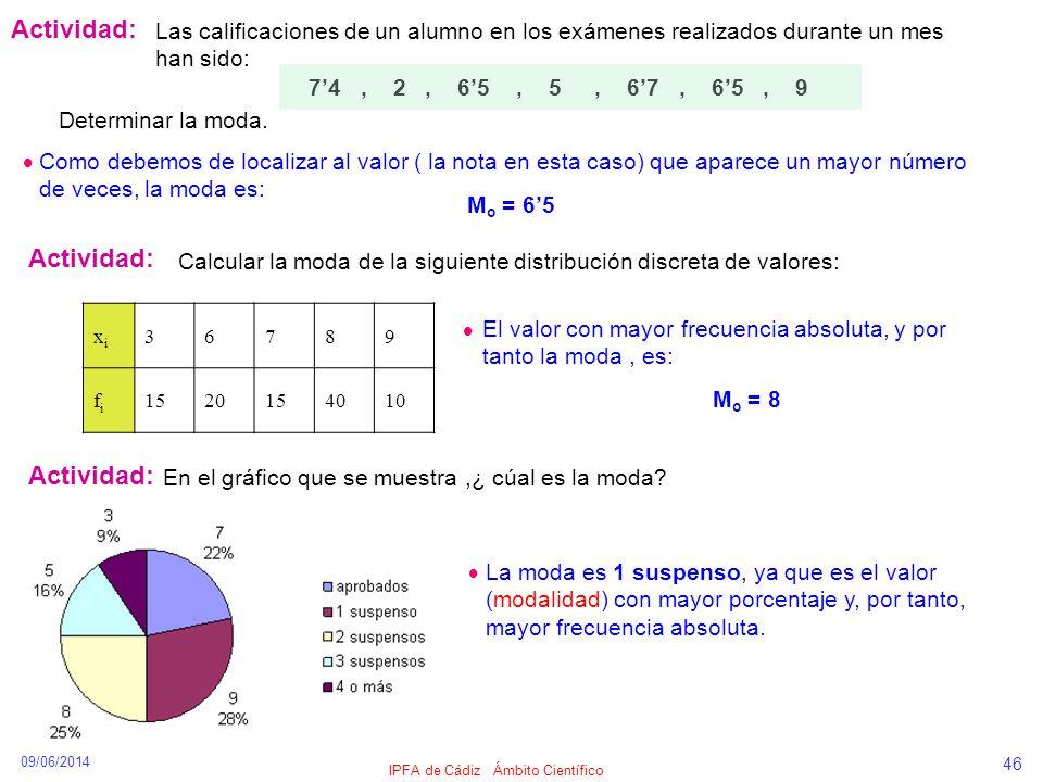 09/06/2014 IPFA de Cádiz Ámbito Científico 46 Actividad: Las calificaciones de un alumno en los exámenes realizados durante un mes han sido: 74, 2, 65