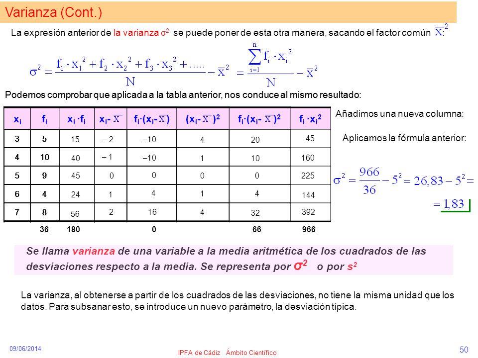 09/06/2014 IPFA de Cádiz Ámbito Científico 50 Varianza (Cont.) La expresión anterior de la varianza σ 2 se puede poner de esta otra manera, sacando el