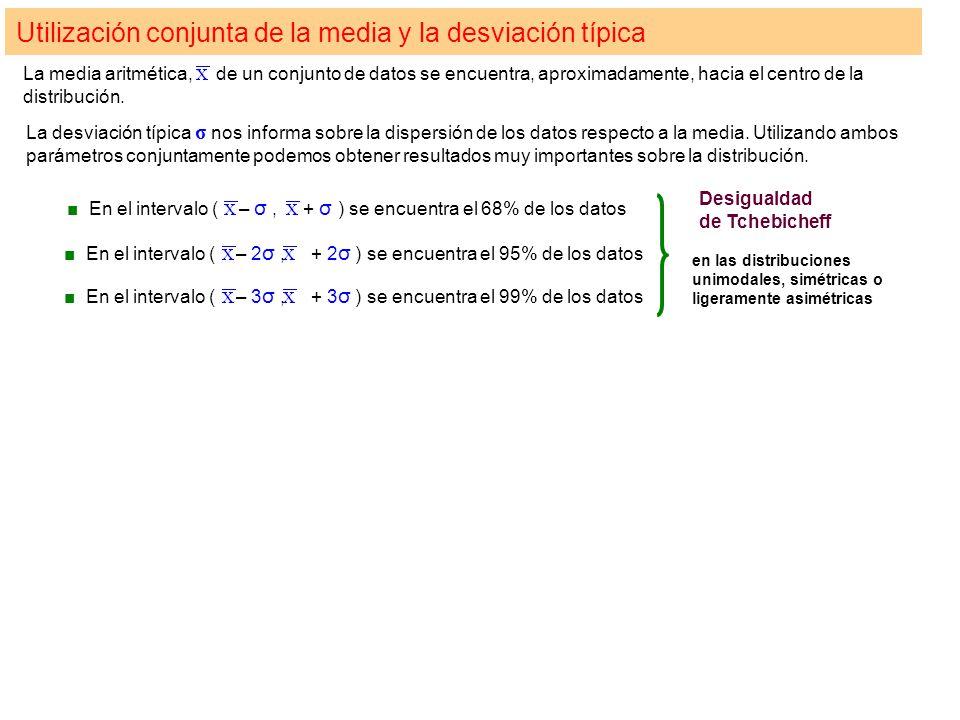 Utilización conjunta de la media y la desviación típica La media aritmética, de un conjunto de datos se encuentra, aproximadamente, hacia el centro de